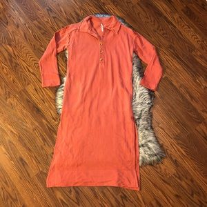 Free People On My Way Polo Pullover Sz Medium